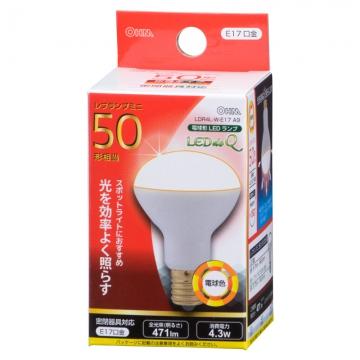 LED電球 ミニレフランプ形 50形相当 E17 電球色 [品番]06-0769