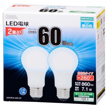 LED電球 一般電球形 60形相当 E26 昼白色 2個入 [品番]06-1746