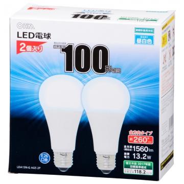 LED電球 100W相当 E26 昼白色 全方向 密閉器具対応 2個入 [品番]06-1748