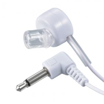 片耳モノラルイヤホン φ3.5 L型 ラジオ用 1m 白 [品番]03-3166