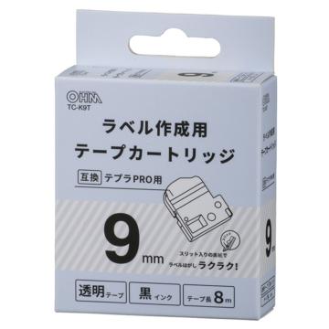 テプラ互換ラベル 透明テープ 黒文字 幅9mm [品番]01-3807