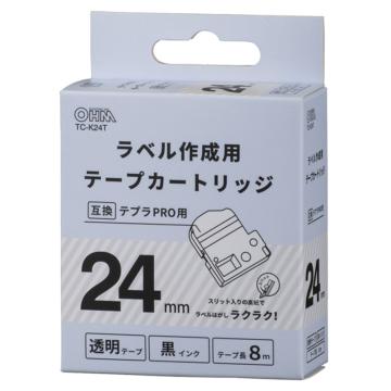 テプラ互換ラベル 透明テープ 黒文字 幅24mm [品番]01-3810