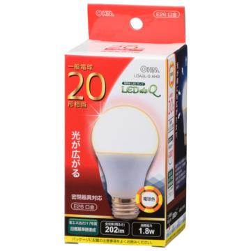 LED電球 20形相当 E26 電球色 広配光 密閉器具対応 [品番]06-0783