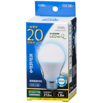 LED電球 20形相当 E26 昼光色 広配光 密閉器具対応 [品番]06-0784