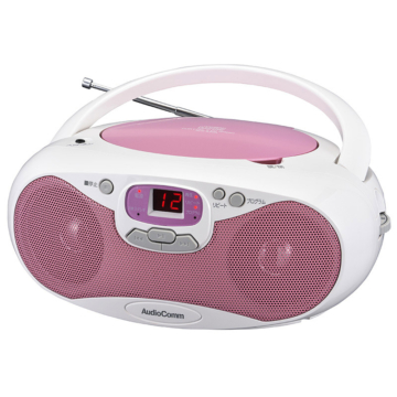 AudioComm CDラジオ ピンク [品番]07-8848