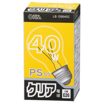 白熱電球 E26 40W クリア [品番]06-0639