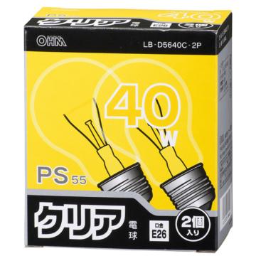 白熱電球 E26 40W クリア 2個入 [品番]06-0645