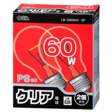 白熱球 60W クリア E26 2個入り [品番]06-0647