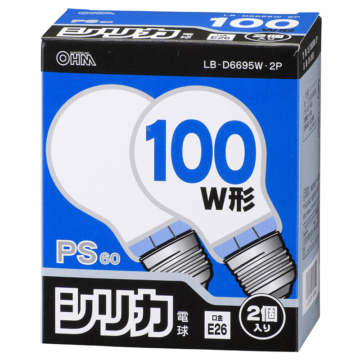 白熱電球 E26 100W ホワイト 2個入 [品番]06-0650