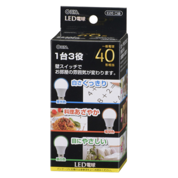 LED電球 一般電球型 40形相当 調色機能付 E26 広配光220° [品番]06-0797