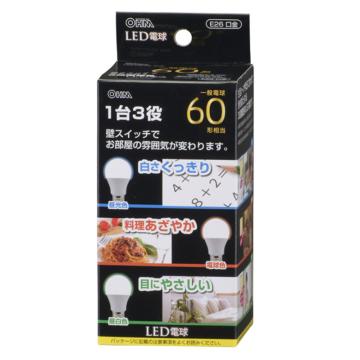 LED電球 60形相当 E26 調色機能付  広配光 密閉器具対応 [品番]06-0798