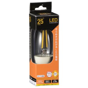 LED電球 フィラメント シャンデリア形 E17 25形相当 [品番]06-3465