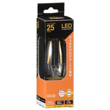 LEDフィラメントタイプ電球 シャンデリア球 クリア 25形相当 電球色 E26 [品番]06-3468