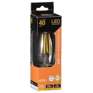 LEDフィラメントタイプ電球 シャンデリア球 クリア 40形相当 電球色 E26 [品番]06-3469