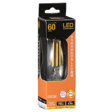 LED電球 フィラメント シャンデリア形 E26 60W相当 [品番]06-3470