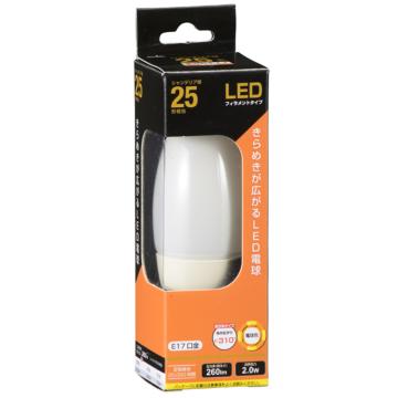 LED電球 フィラメント シャンデリア形 E17 25形相当 [品番]06-3471