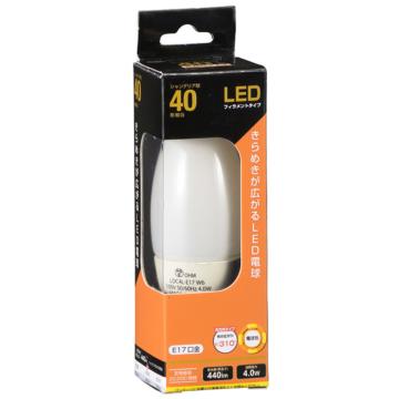 LEDフィラメント電球 シャンデリア形 40W形相当 E17 ホワイト 電球色 [品番]06-3472