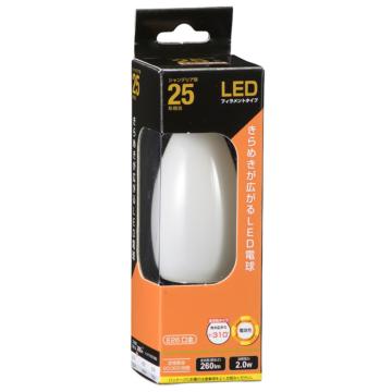 LED電球 フィラメント シャンデリア形 E26 25形相当 [品番]06-3474