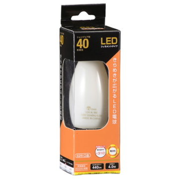 LED電球 フィラメント シャンデリア形 E26 40形相当 [品番]06-3475