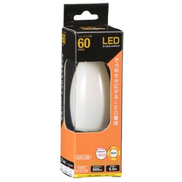 LEDフィラメントタイプ電球 シャンデリア球 ホワイト 60形相当 電球色 E26 [品番]06-3476