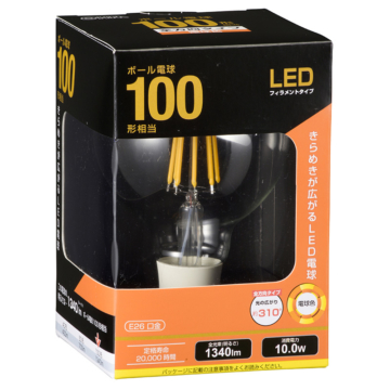LED電球 フィラメント ボール形 E26 100形相当 [品番]06-3479