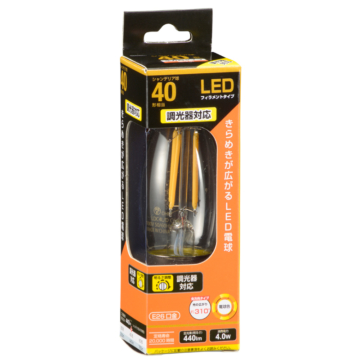 LED電球 フィラメント シャンデリア形 E26 40形相当 調光器対応 [品番]06-3489