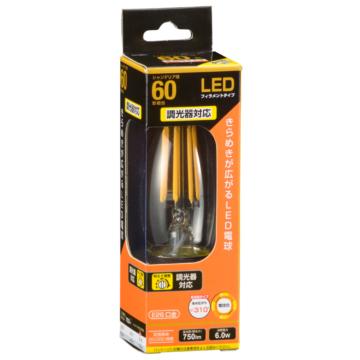 LED電球 フィラメント シャンデリア形 E26 60形相当 調光器対応 [品番]06-3490