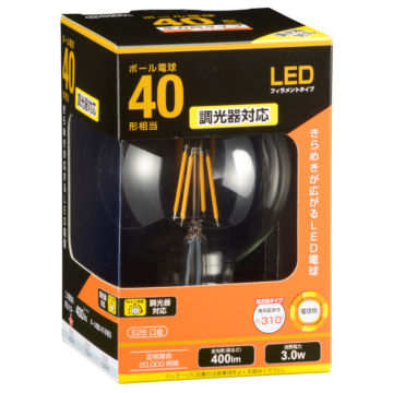 LED電球 フィラメント ボール形 E26 40形相当 調光器対応 [品番]06-3497