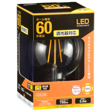 LED電球 フィラメント ボール形 E26 60形相当 調光器対応 [品番]06-3498