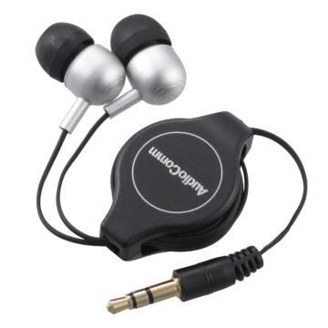 AudioComm ステレオイヤホン カナル型 コード巻取式 [品番]03-2246