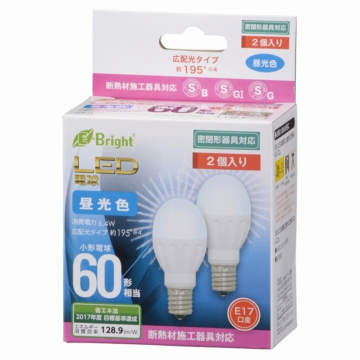 LED電球 小形 60W相当 E17 昼光色 [品番]06-0720