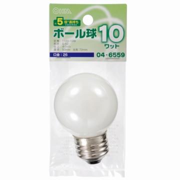 ミニボール球 E26 10W ホワイト [品番]04-6559