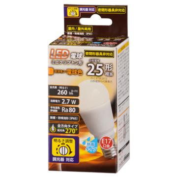 LED電球 ミニクリプトン形 E17 25形相当 防雨タイプ 電球色 [品番]06-1875
