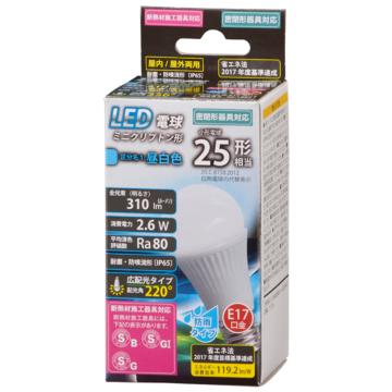 LED電球 ミニクリプトン形 E17 25形相当 防雨タイプ 昼白色 [品番]06-1882