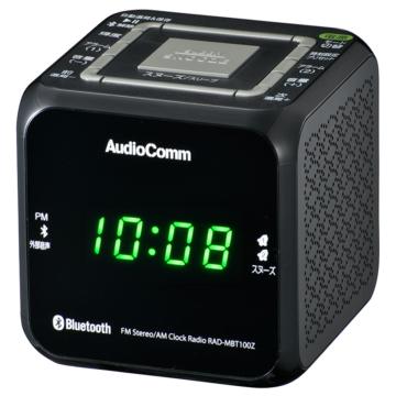 AudioComm クロックラジオ Bluetooth対応 ブラック [品番]07-8964