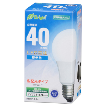 LED電球 E26 40形相当 広配光 昼光色 [品番]06-3584