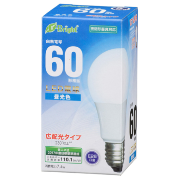 LED電球 E26 60形相当 広配光 昼光色 [品番]06-3586