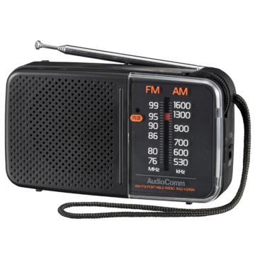 AudioComm スタミナハンディラジオ グレー [品番]03-5628