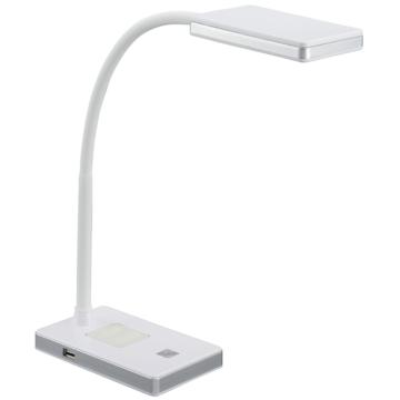 LEDデスクランプ USBポート付 昼白色 ホワイト/シルバー [品番]07-8618