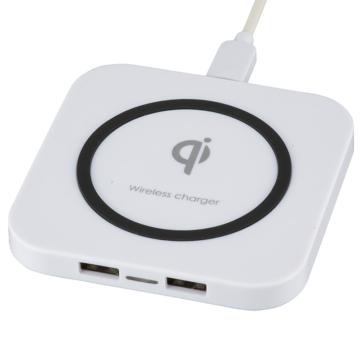 AudioComm ワイヤレス充電器 USBポート2個付 [品番]01-7079
