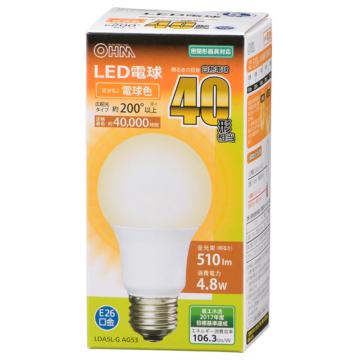 LED電球 E26 40形相当 電球色 [品番]06-3081