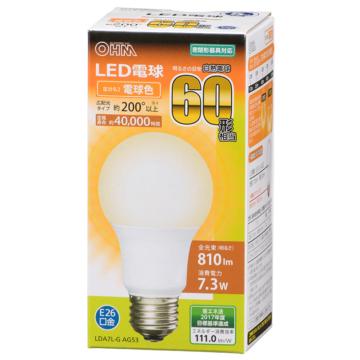 LED電球 E26 60形相当 電球色 [品番]06-3083