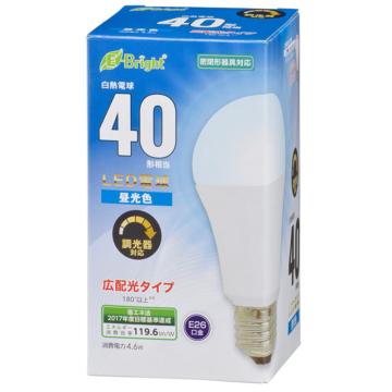 LED電球 E26 40形相当 広配光 密閉器具・調光器対応 昼光色 [品番]06-3618