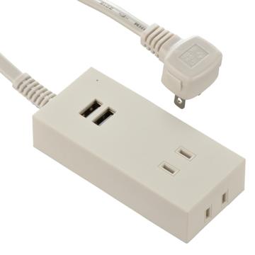 USBポート付安全タップ 2個口 1.5m 白 [品番]00-4396