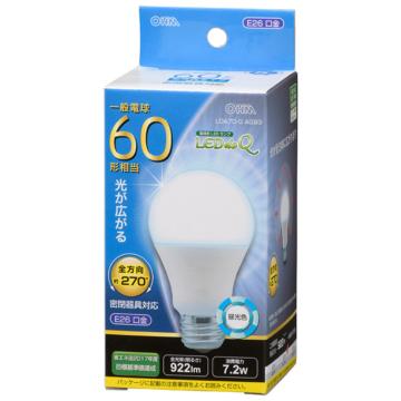 LED電球 E26 60形相当 全方向 昼光色 [品番]06-3408