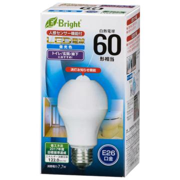 LED電球 E26 60形相当 人感明暗センサー付 昼光色 [品番]06-3594