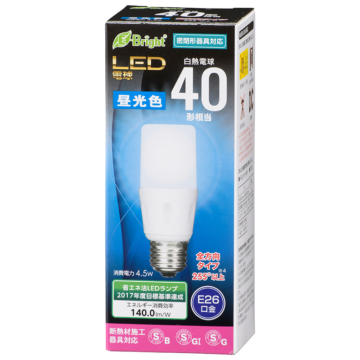 LED電球 T形 E26 40形相当 昼光色 [品番]06-3610