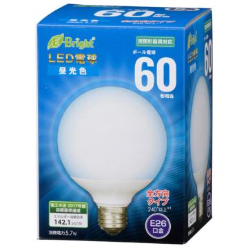 LED電球 ボール形 E26 60形相当 全方向 昼光色 [品番]06-3602