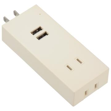 USBポート付安全タップ 雷ガード 2個口 白 [品番]00-4395