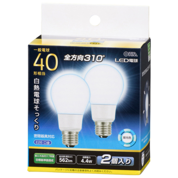 LED電球 E26 40形相当 昼光色 2個入 [品番]06-3420